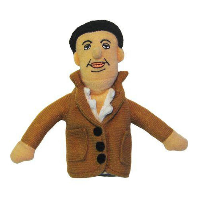 A soft fabric Diego Rivera finger puppet wearing white Shirt and Tan over coat