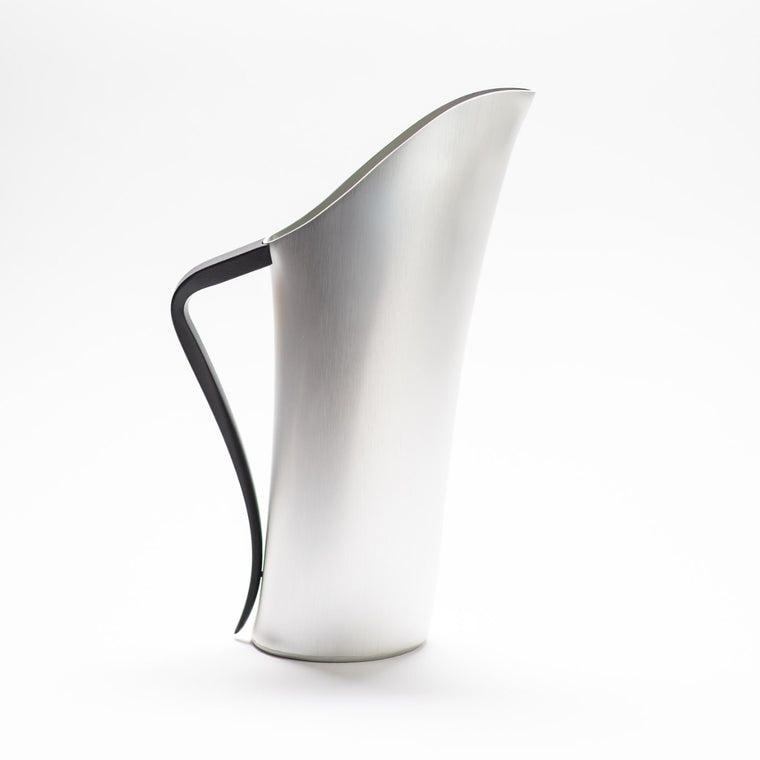 A finely designed sculptural Silver jug made of anodised aluminium.