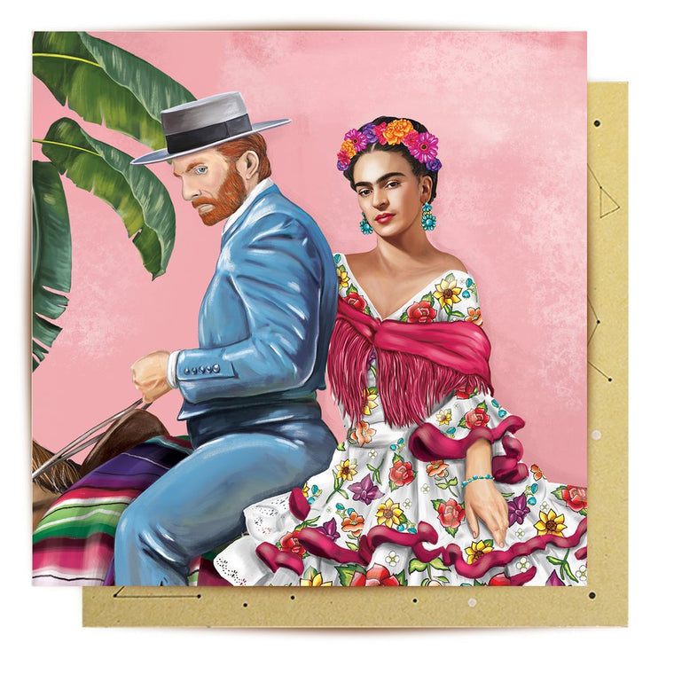 Greeting Card featuring illustration of artists Vincent Van Gogh and Frida Kahlo