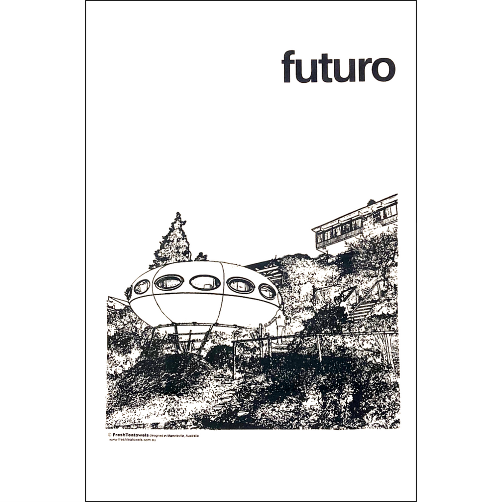 A large White tea towel printed with an illustration of the Futuro Building ( located in Canberra) surrounded by trees and shrubs and other buildings.