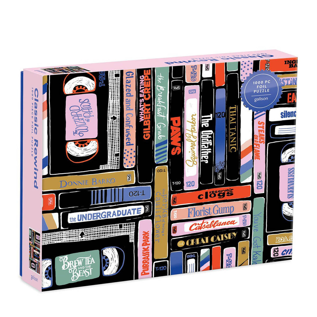 A 1000 piece puzzle box featuring  illustration by Bethany Robertson of amusing made-up movie titles on VHS tape.