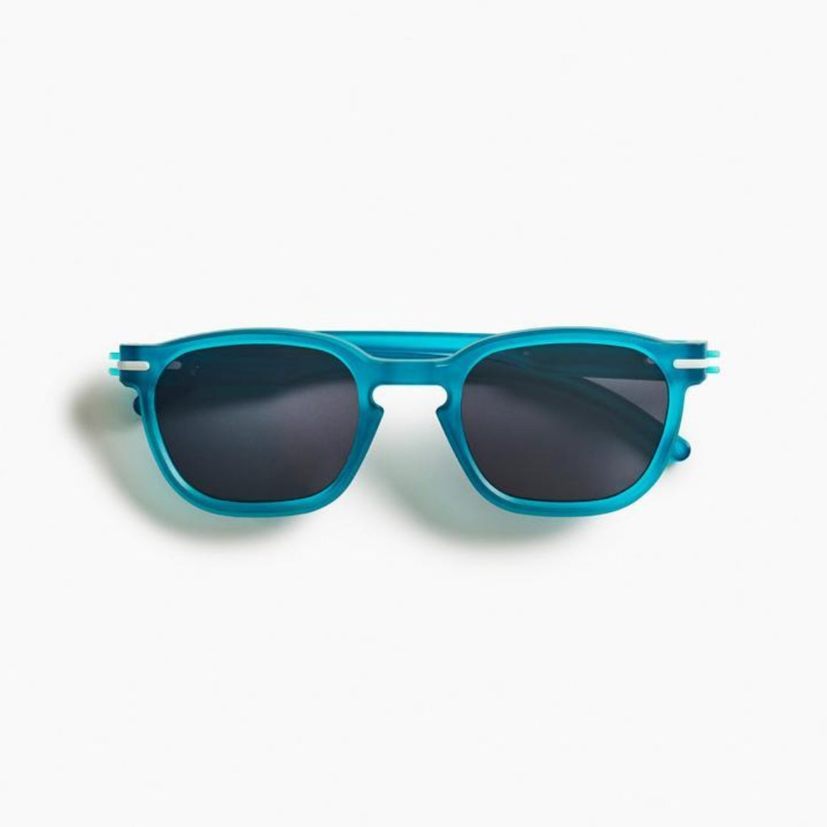Image featuring a white background with classically designed square framed sunglasses in a Aqua/blue colour