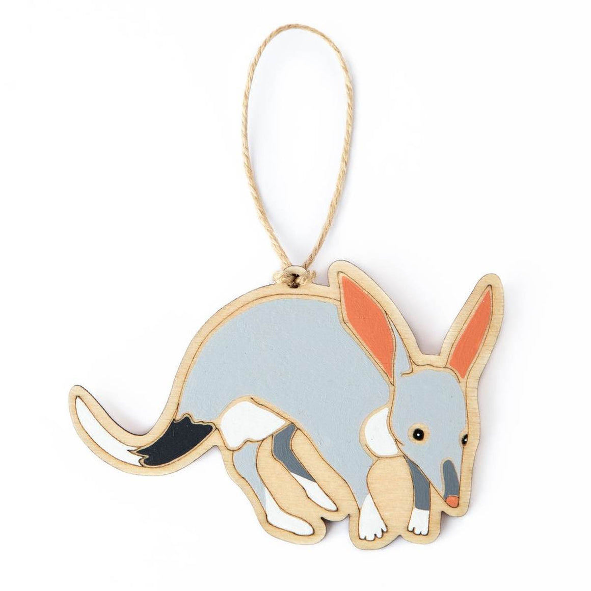 A hanging ornament in the form of a Greater Bilby. Laser Etched flat wood is adorned with Black, White, Grey and Peach hand painting. A Jute string is attached