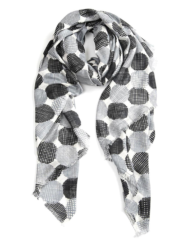 Scarf Hatch Grey/Black/White