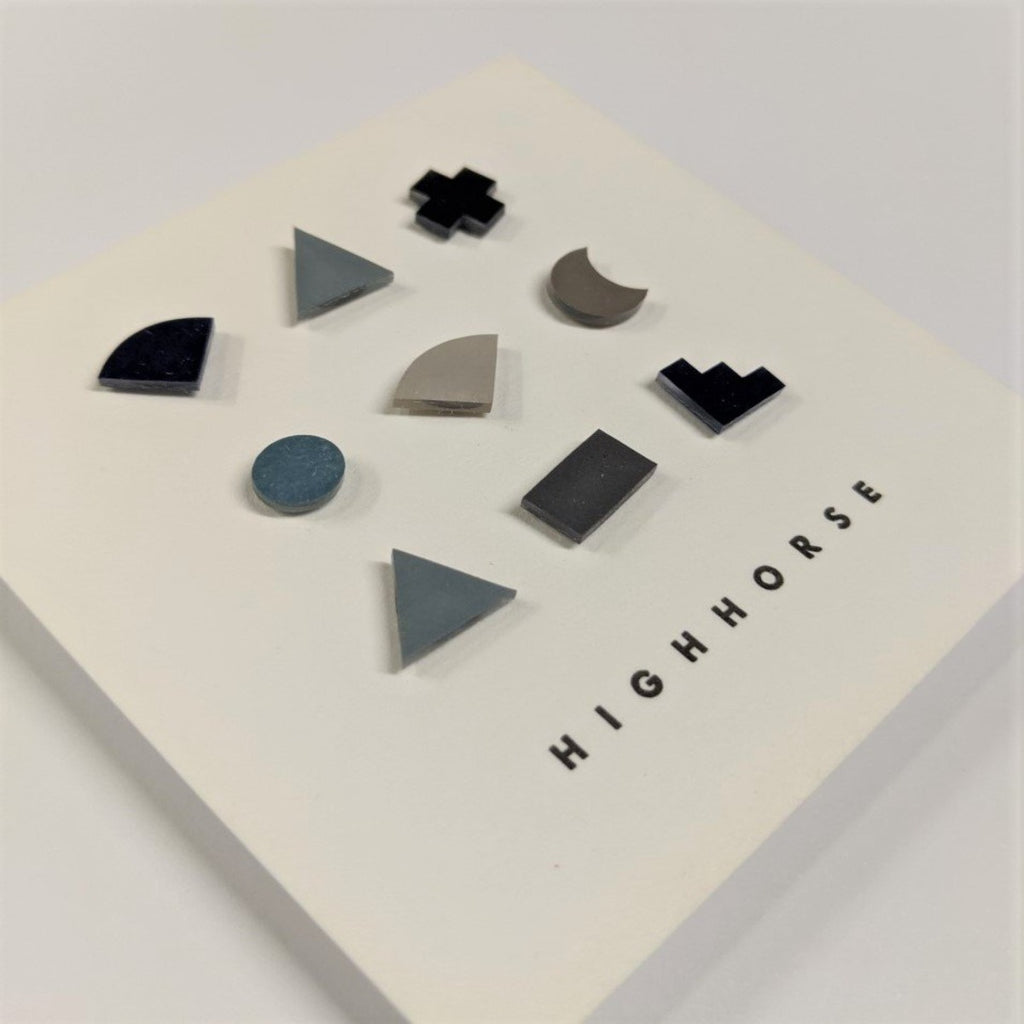 Earrings | Mini Shapes | Large Set | Black/Navy/Light Blue/Grey/Light Grey