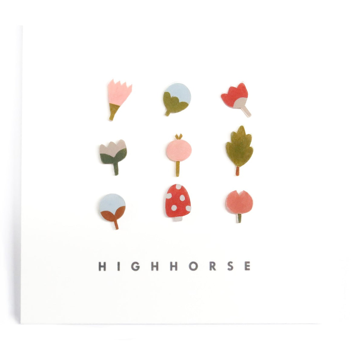 Image featuring a set of nine earrings including an assorted group of leaves, mushrooms and flowers - with the word HighHorse on the bottom