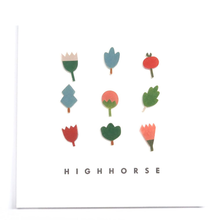 Image featuring a set of nine earrings including an assorted group of leaves and flowers - with the word HighHorse on the bottom