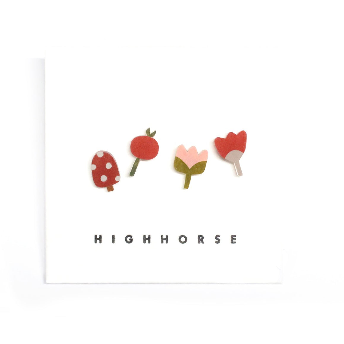 Image featuring a set of four earrings including an assorted range of flowers and mushrooms - with the word HighHorse