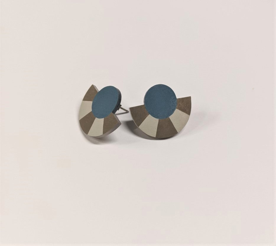 Earrings | Striped Circle Arc Studs | Blue/Grey