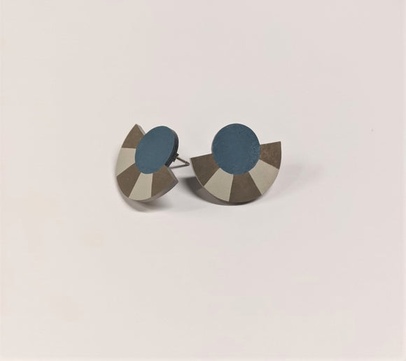 Earrings featuring Studs a geometric shape with a Striped Circle Arc in Blue and Grey colour