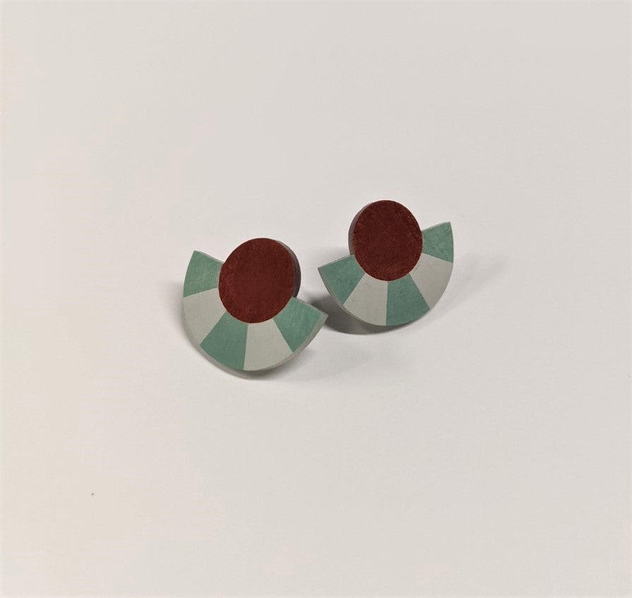 Earrings | Striped Circle Arc Studs | Russet Dark Brown/Mint
