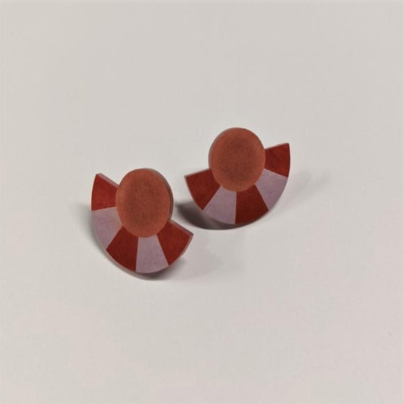 Earrings featuring Studs a geometric shape with a Striped Circle Arc in Cinnamon Light Brown and Lavender Purple