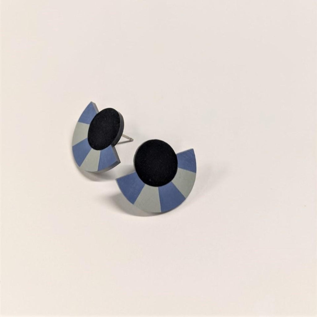 Earrings | Striped Circle Arc Studs | Navy Blue/Blue