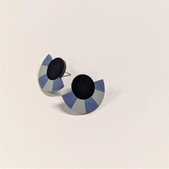 Earrings featuring Studs a geometric shape with a Striped Circle Arc in Navy Blue and Blue colour