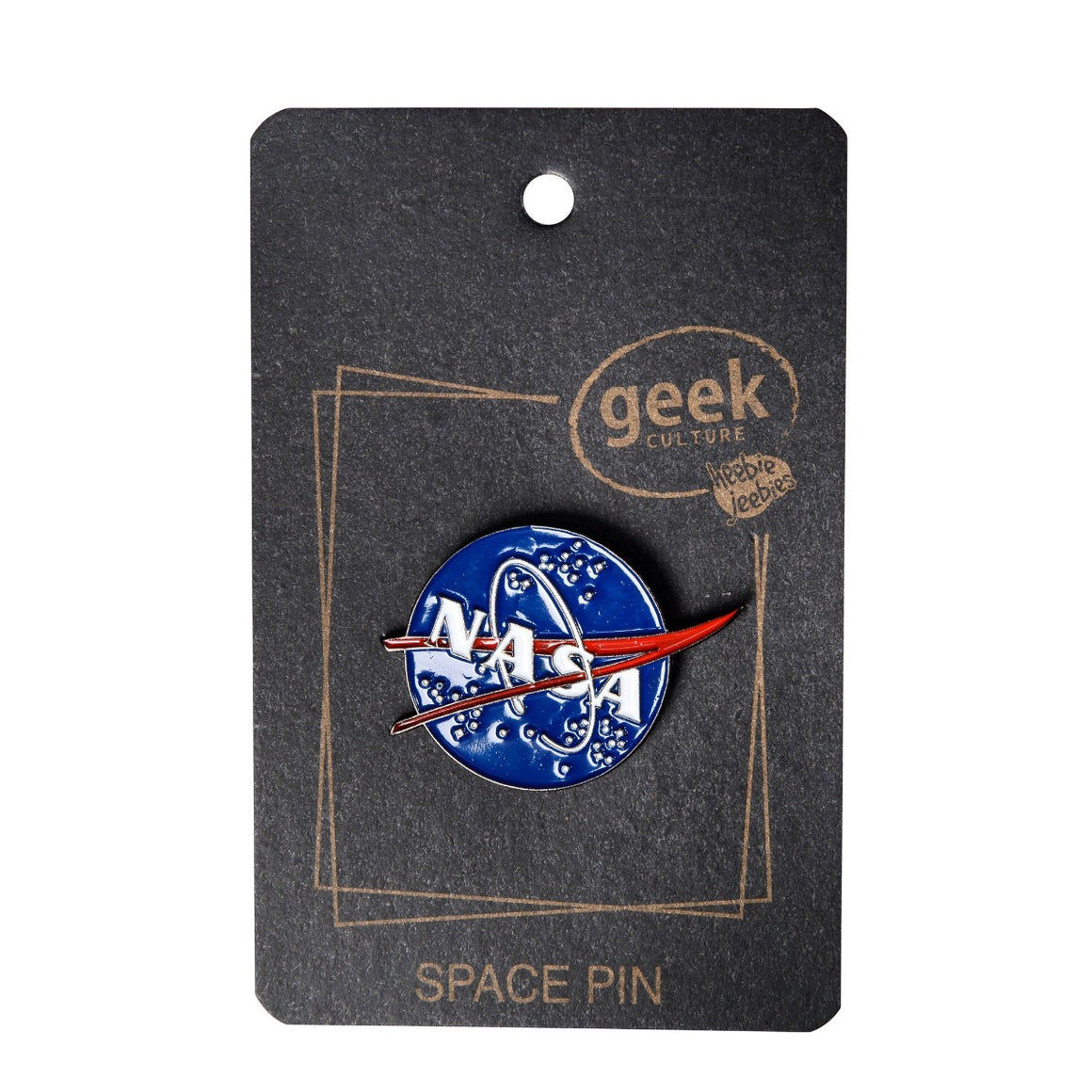 Image featuring a black piece of card with the text Geek Culture: Space Pin on the front, with an enamel pin in the middle which features the blue, white and red logo of NASA