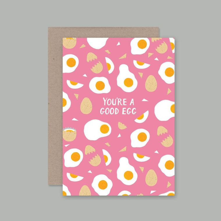 Greeting Card featuring illustration by Holly Maguire includes drawings of eggs