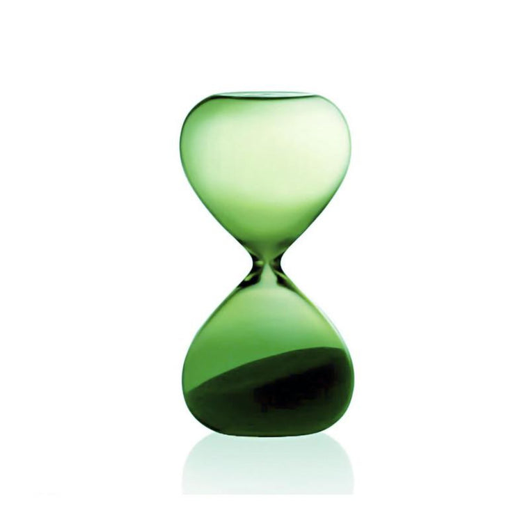 Image featuring a hourglass in the centre of the image featuring in with the glass colour green