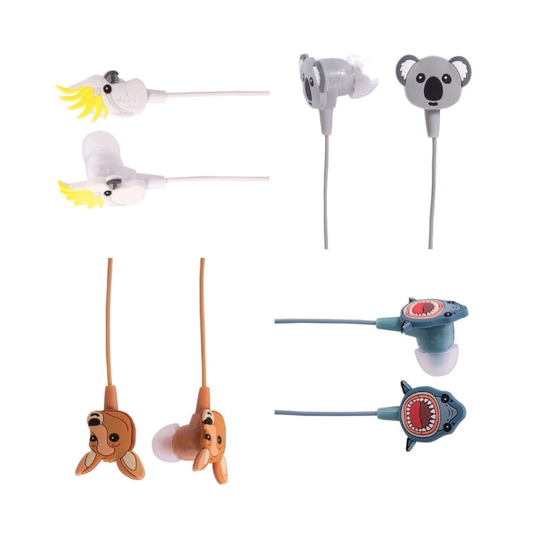 A range of ear bud style headphones in a range of designs including: Koala, Cockatoo, Kangaroo and Shark