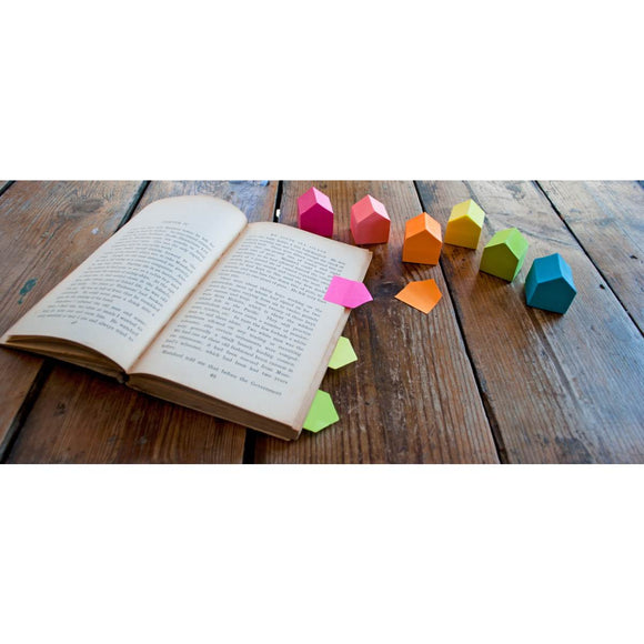 a range of sticky marker note pads. Shaped like a simplified house and in a range of neon tones.