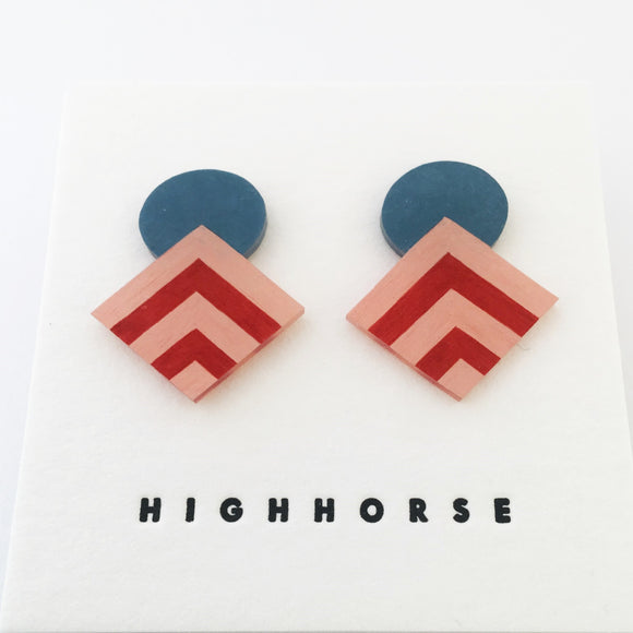Earrings Striped Diamond Studs Blue/Pink/Red