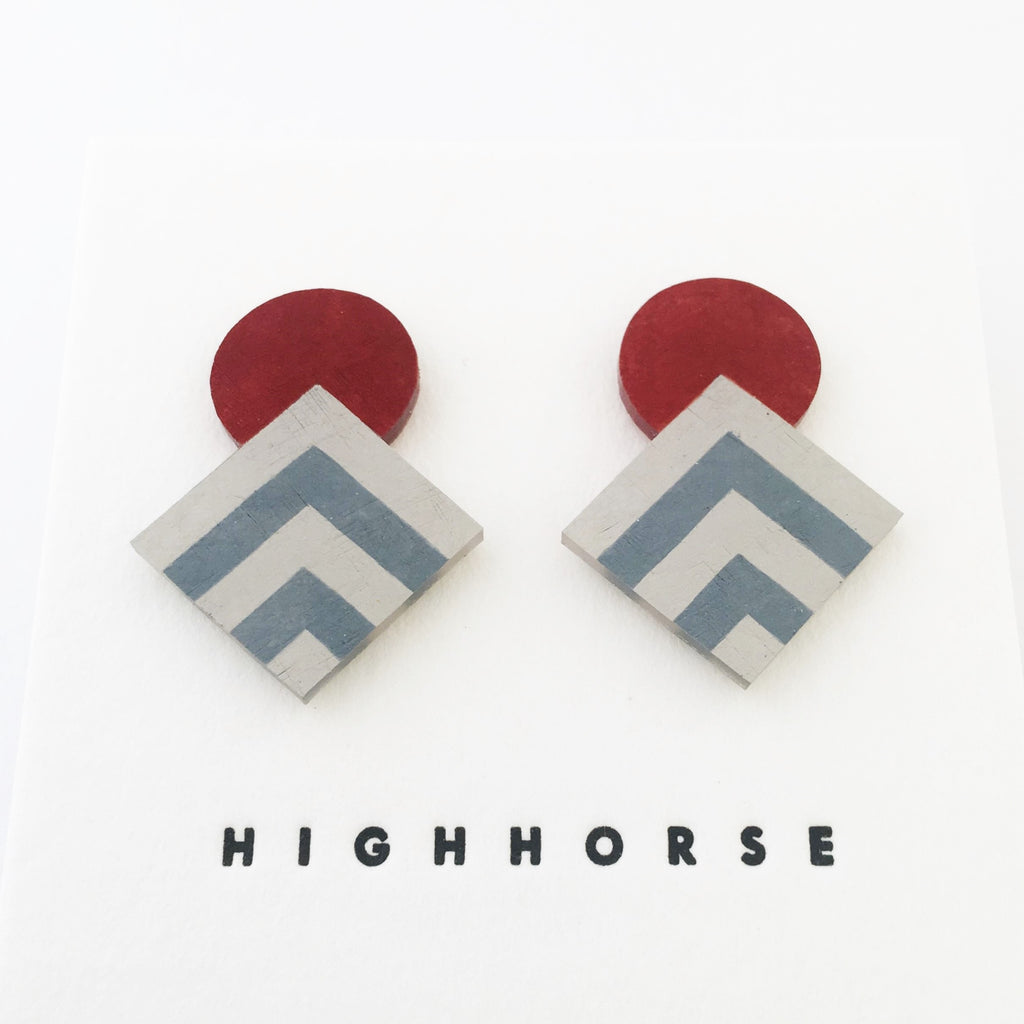 Earrings Striped Diamond Studs Maroon/Blue/Grey