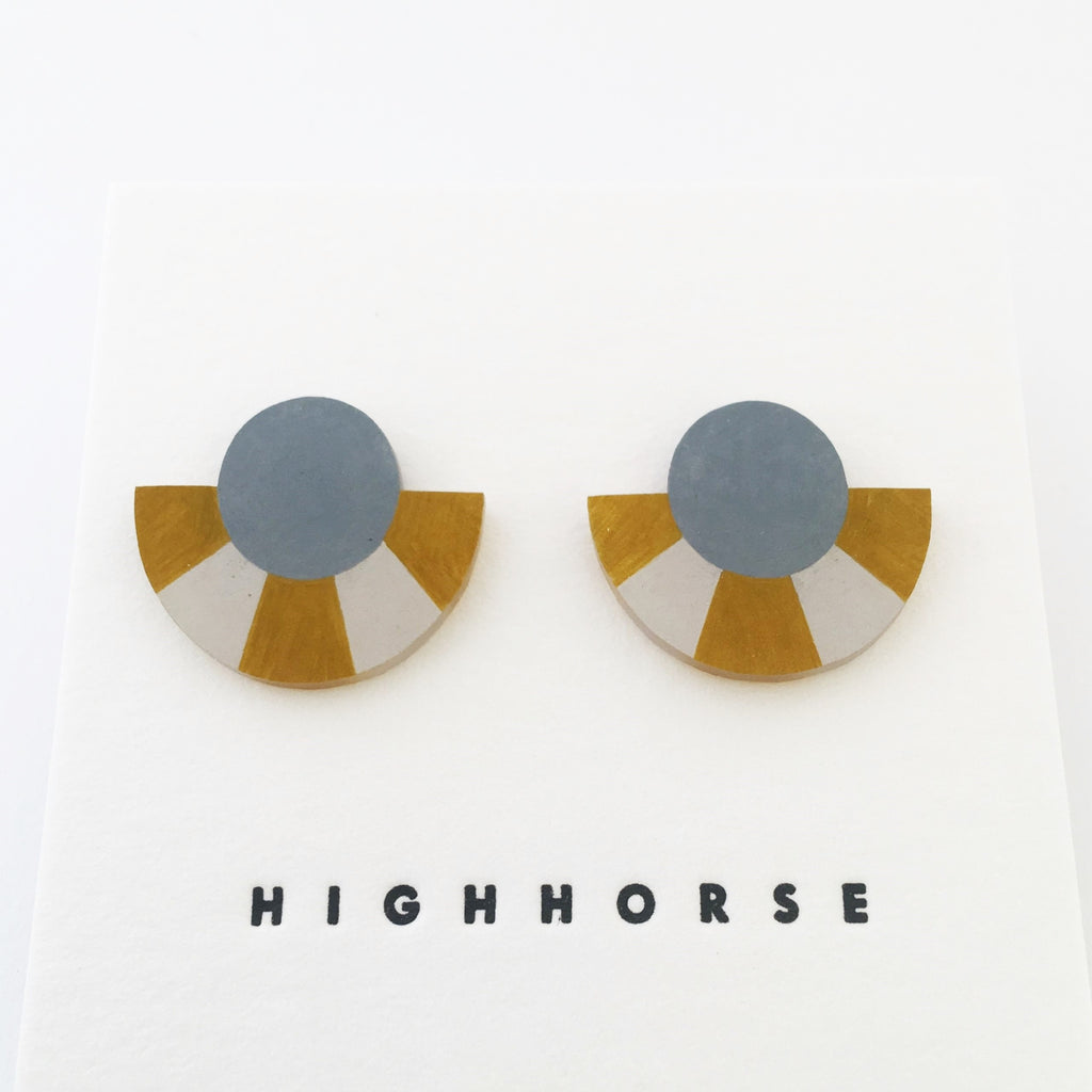 Earrings Striped Arc Studs Blue/Gold/Grey