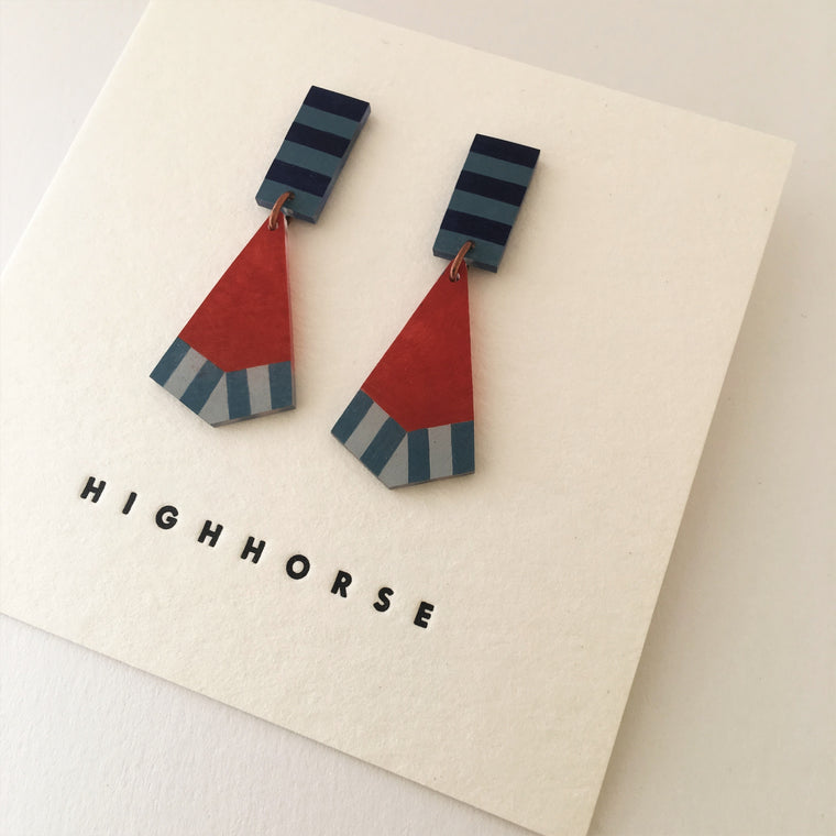 Earrings Fish Tail Red/Blue Studs