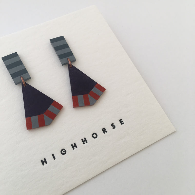 Earrings Fish Tail Navy/Blue/Red Studs