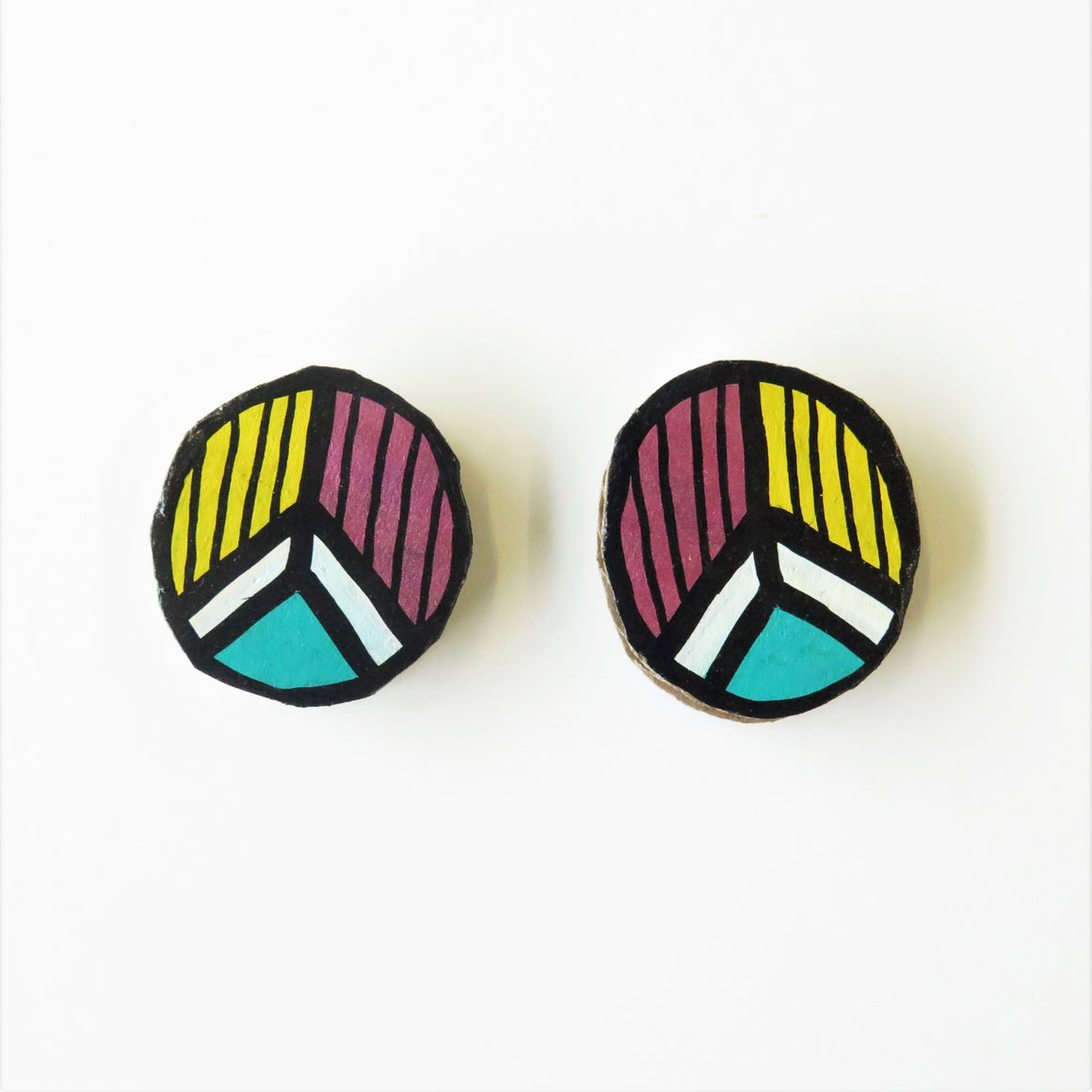 Earrings Blue Pattern Studs
