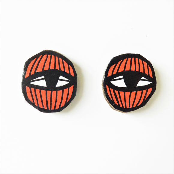Earrings Orange Eye Studs