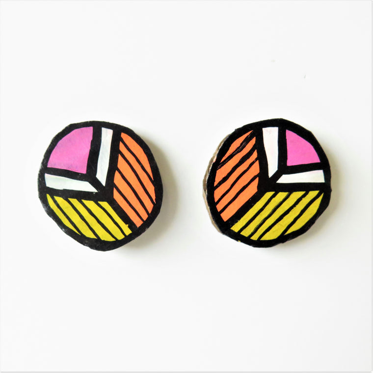 Earrings Pink Pattern Studs
