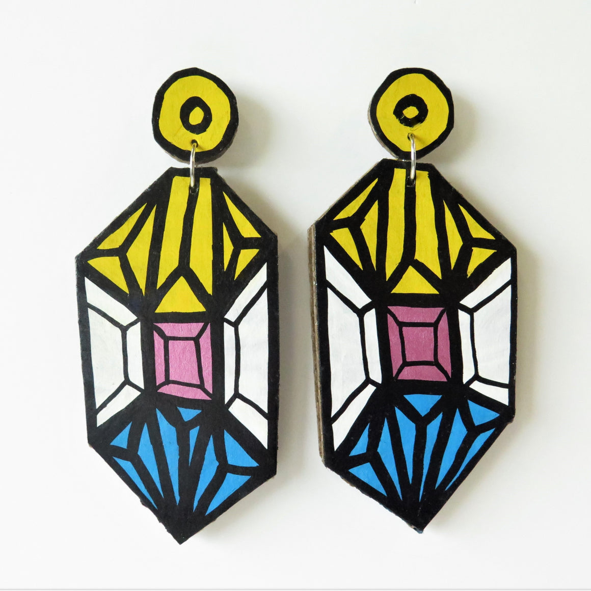 Earrings Yellow Crystal Cardboard
