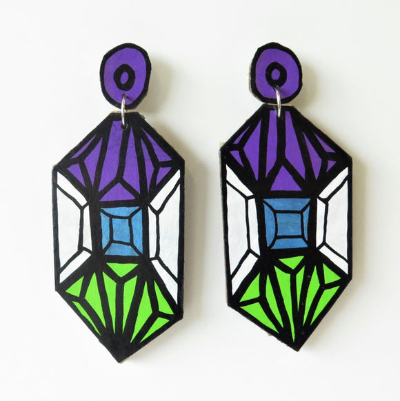 Earrings Purple Crystal Cardboard