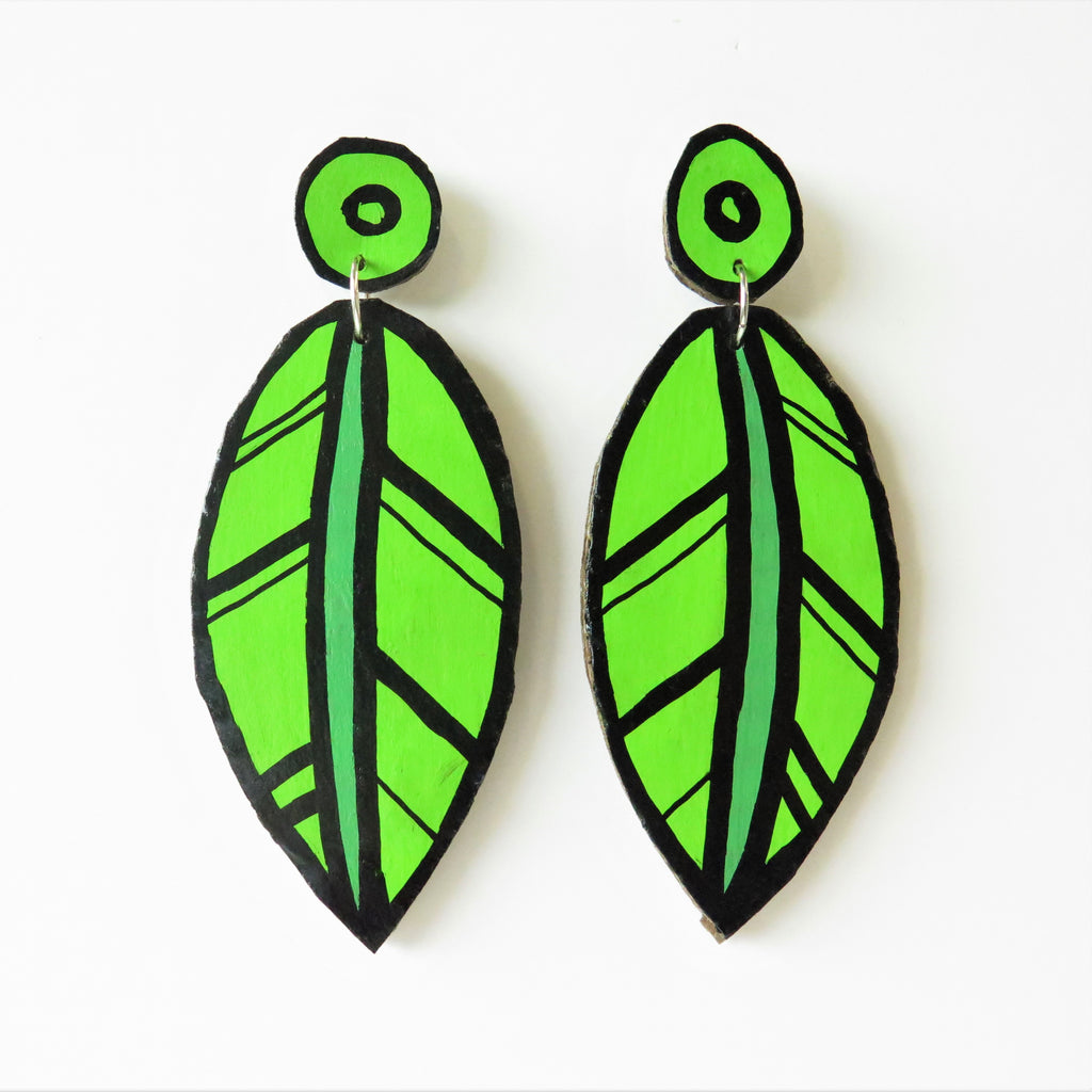 Earrings Leaf Cardboard
