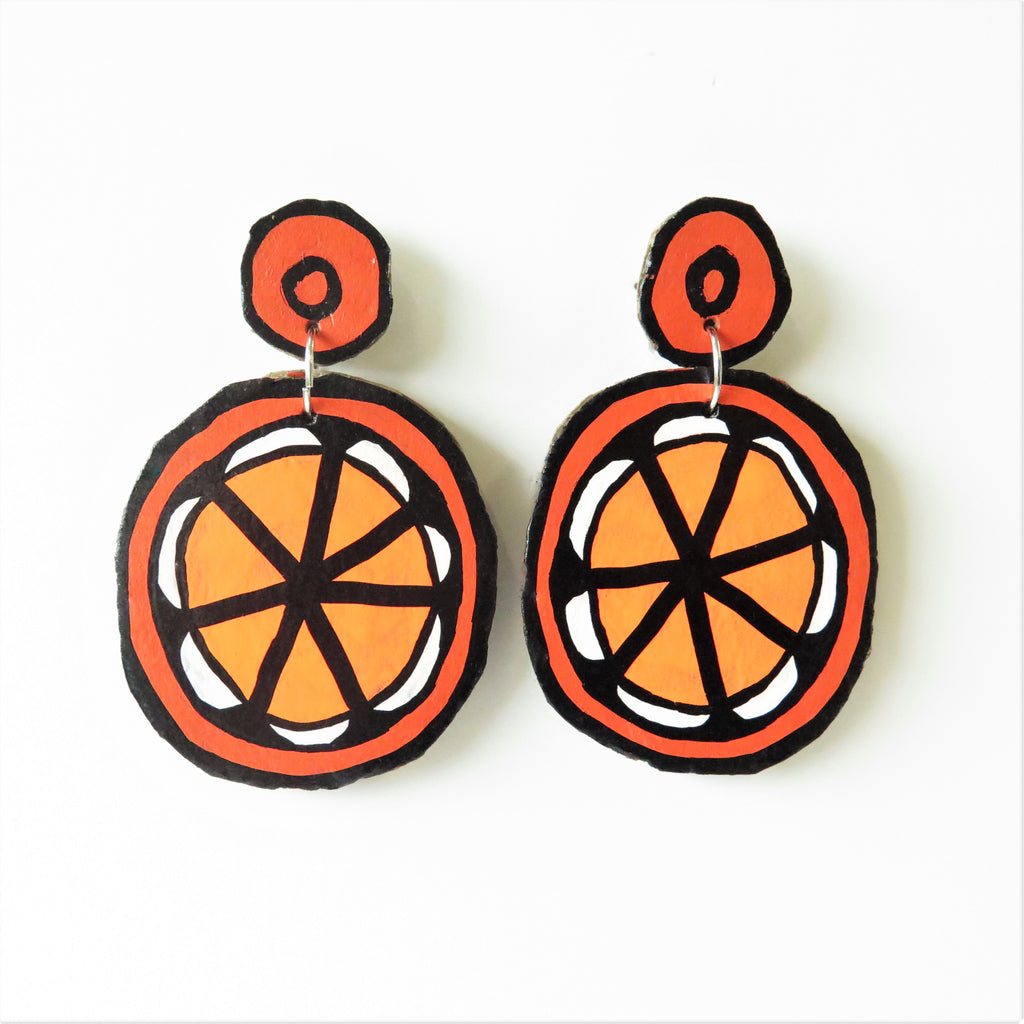 Earrings Orange Cardboard