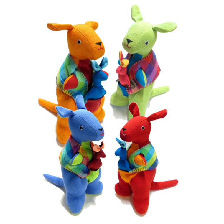 a group of four brightly coloured kangaroo with joey soft toys.
