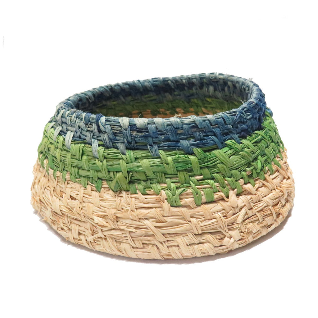 Woven Basket by Suzanne Armstrong | Blue Green & Natural | Tjanpi Desert Weavers