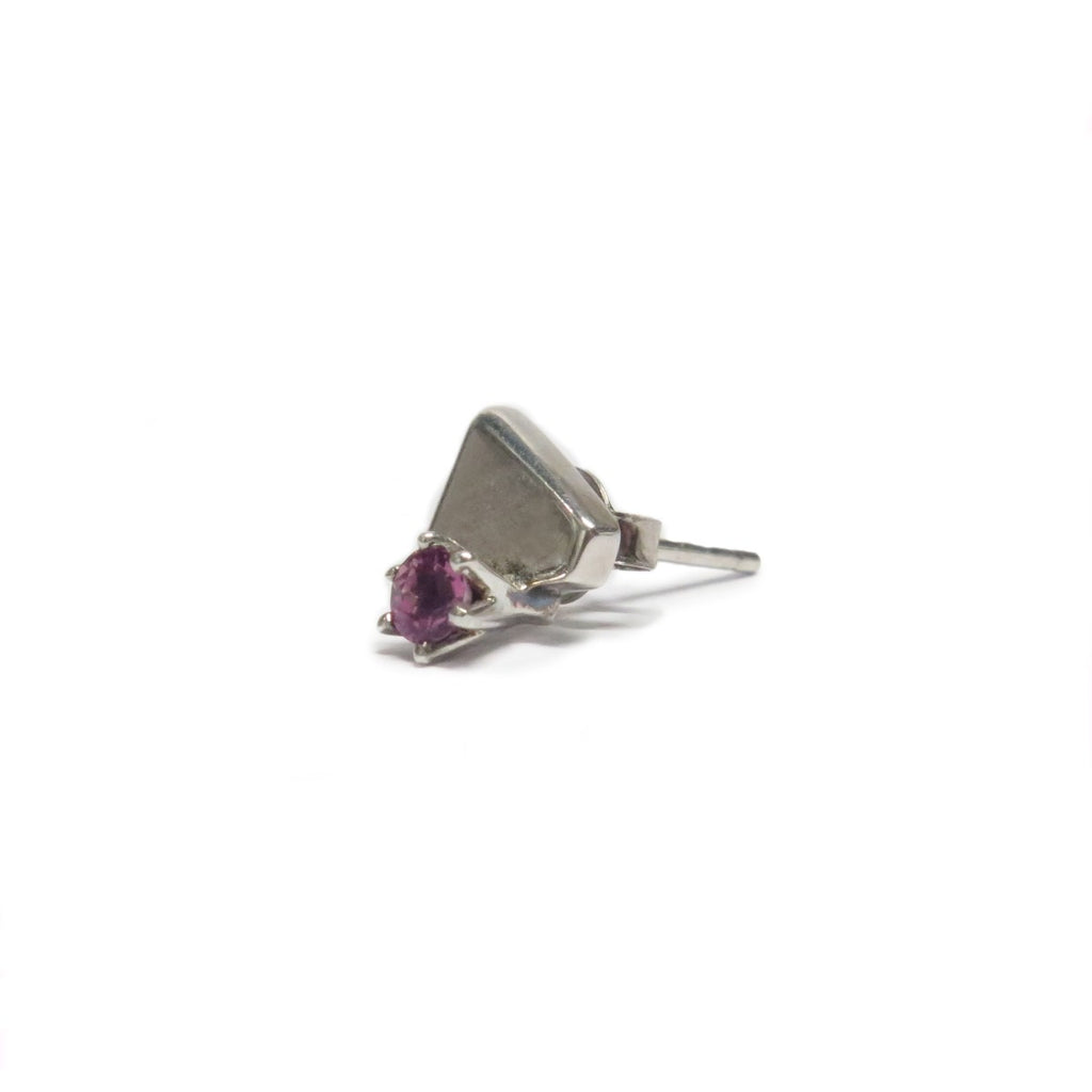 Image featuring the sterling silver stud with a pink tourmaline gem in the centre of it