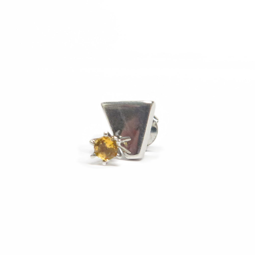 Image of the sterling silver stud which includes a yellow citrine gem in the centre