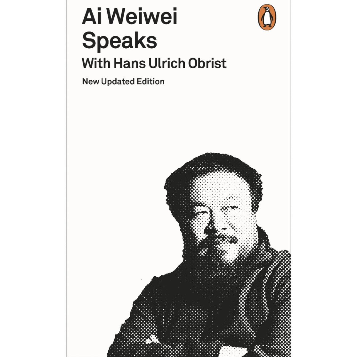 A book cover with a cover black and white photo of artist Ai Weiwei