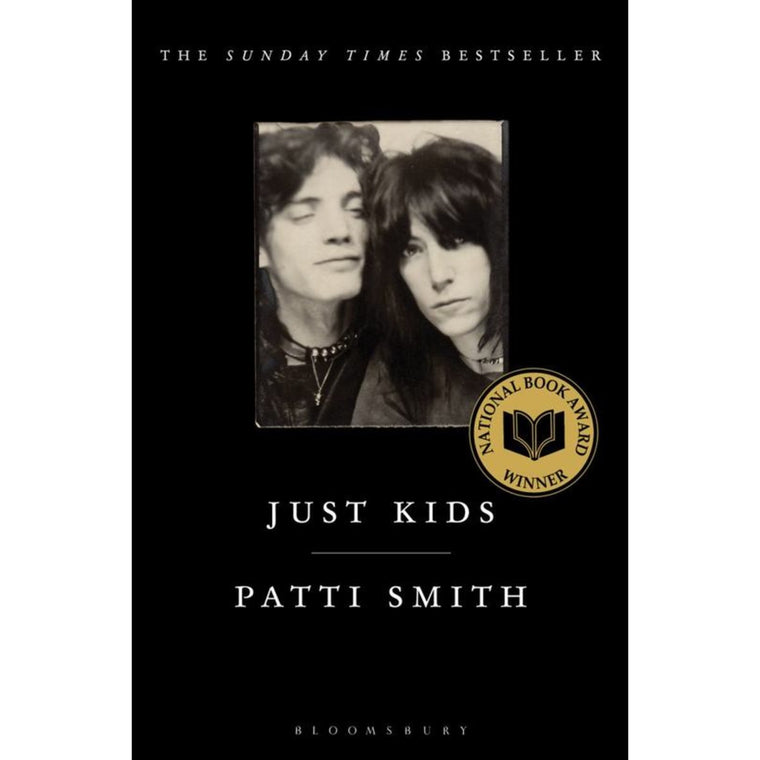 Image featuring a black bookcover with a small square photograph in the center which features patti smith