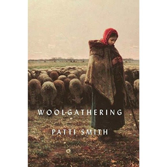 Image featuring a book cover in the center with a female figure in the middle who is surrounded by sheep