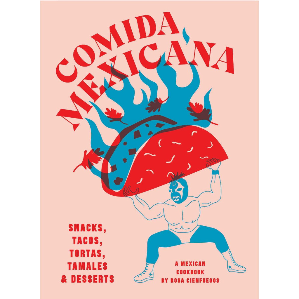 Image featuring a book cover which has a pink background and a graphic illustration of a mexican wrestler holding up a taco