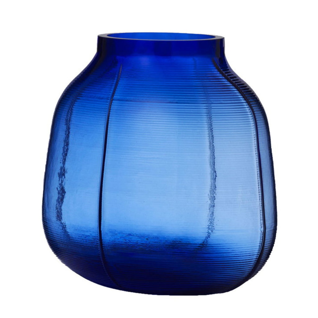 Image featuring a moulded coloured (navy blue) glass vase
