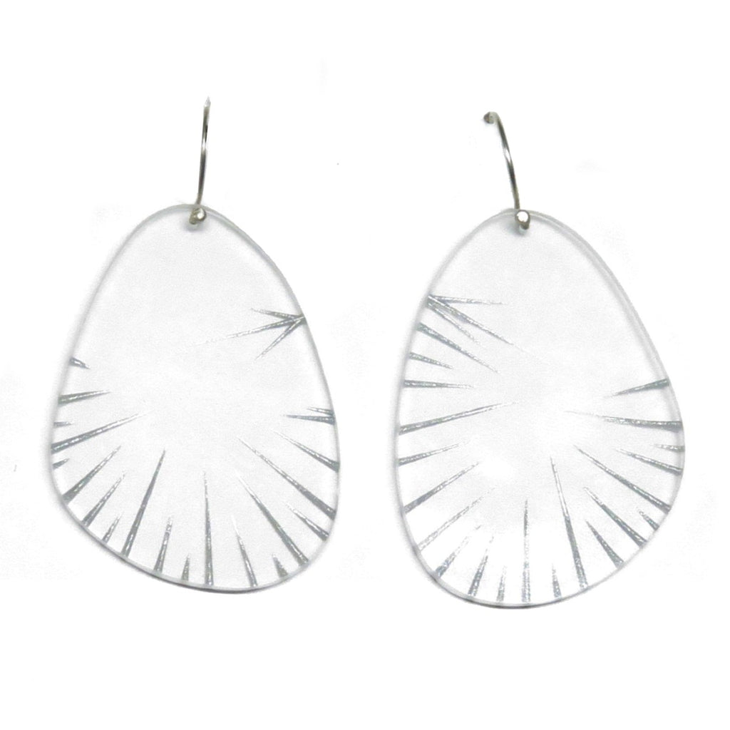 Earrings | From Scratch | Recycled Acrylic | silver on clear | Made by Melinda Young