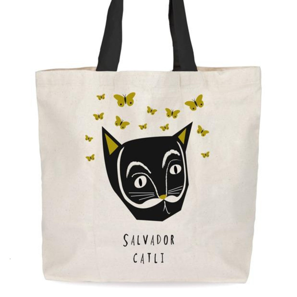 Image featuring a tote bag in the center with a graphic illustration of a cat portrait on the bag which has been made to look like Salvador Dali
