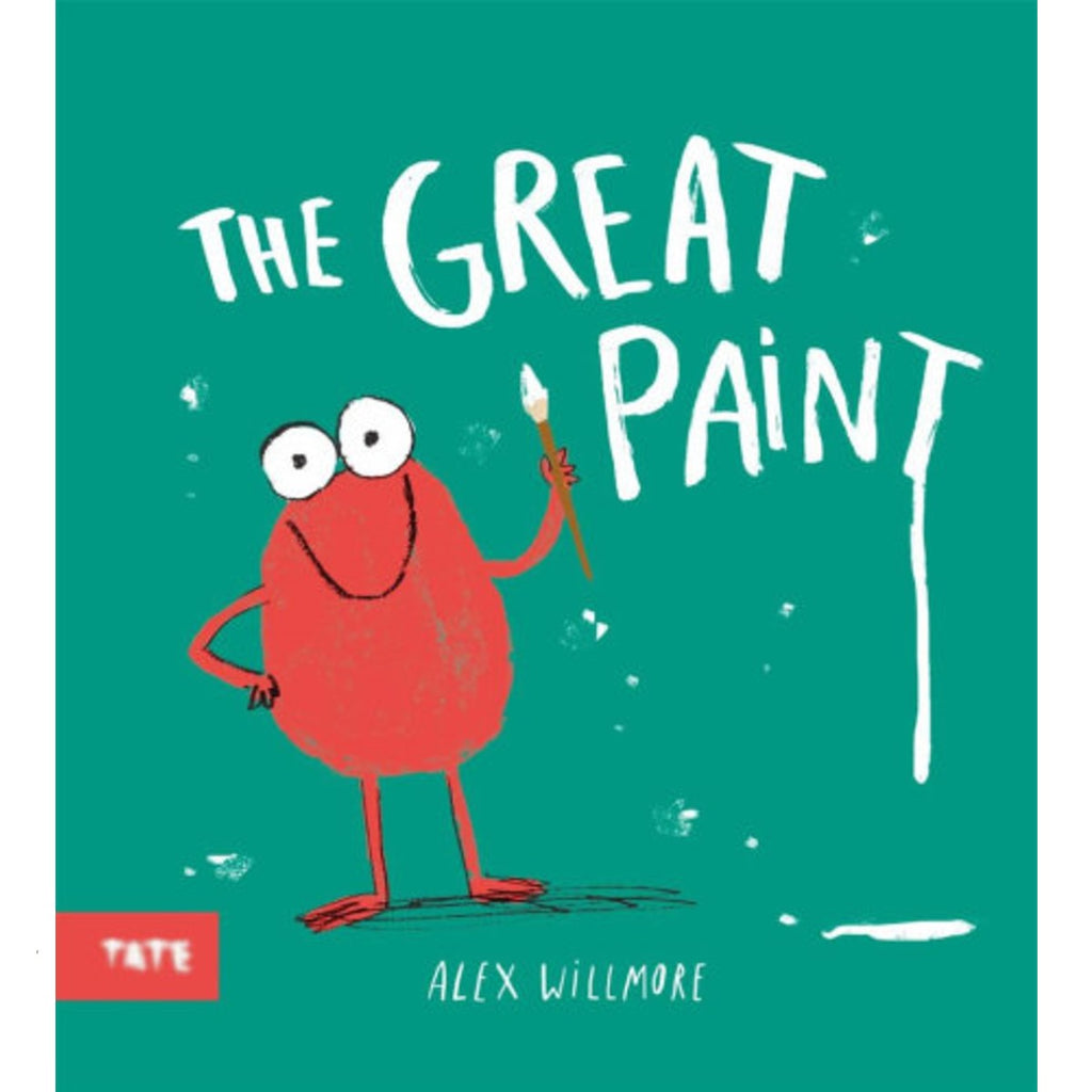 Image of a book cover which has a green background and a red rounded figure holding a paint brush with the word The Great Paint above them