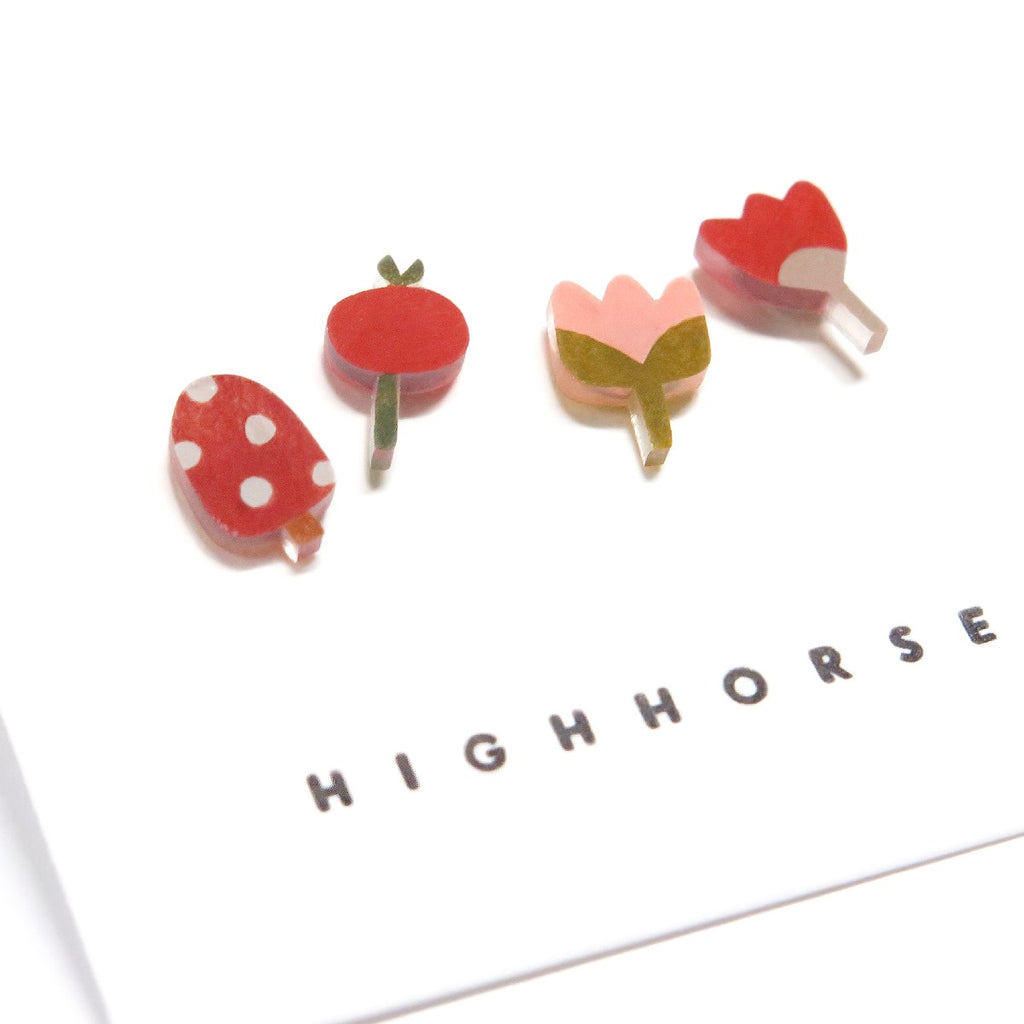Earrings | Leaf life studs | Set of four | Assorted flowers & mushrooms
