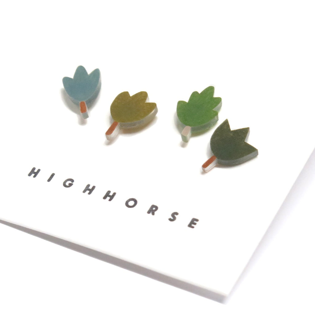Earrings | Leaf life studs | Set of four | Assorted leaves
