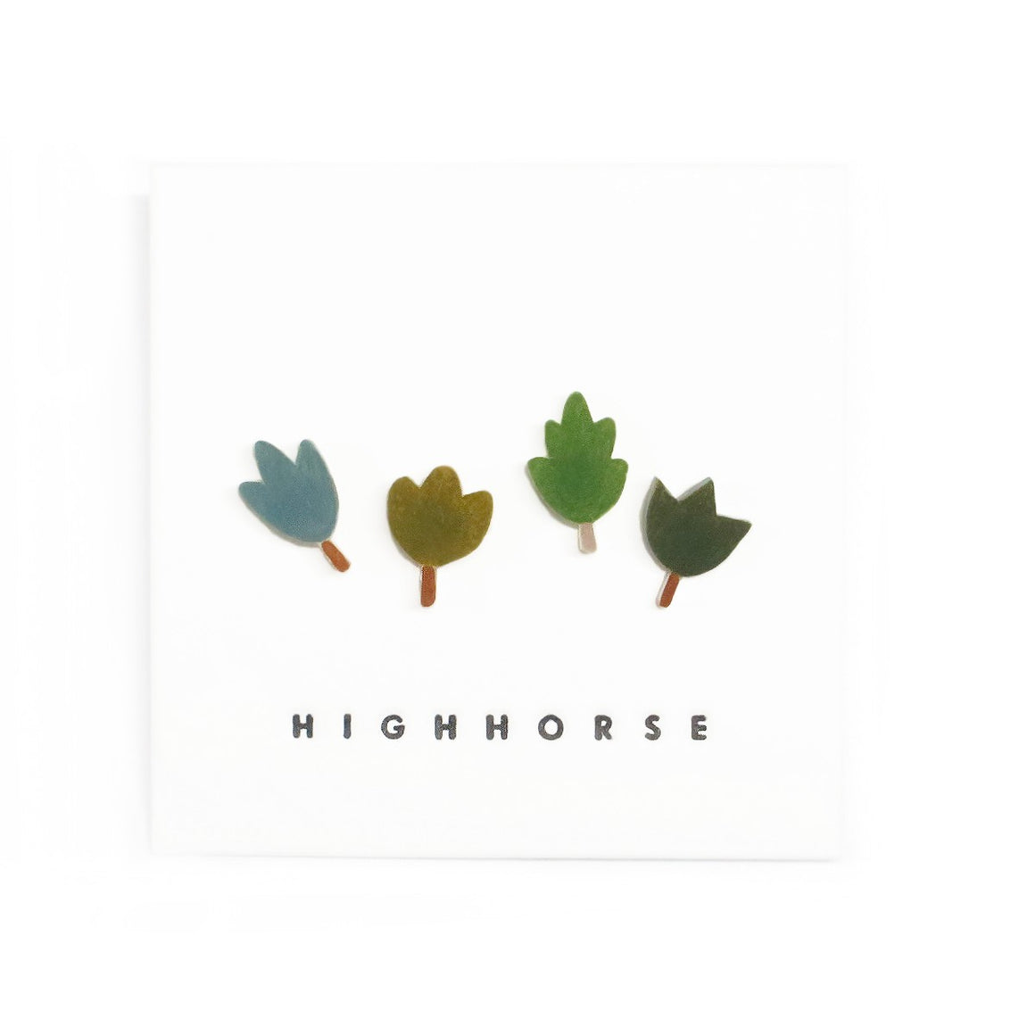 Image featuring a set of four earrings including an assorted range of leaves - with the word HighHorse on the bottom